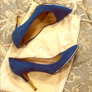 J. Crew blue suede pumps sigh gold outline size 8